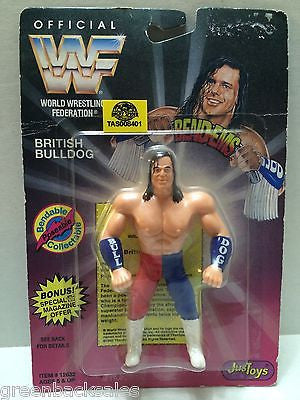 (TAS008401) - WWF WWE WCW Wrestling JusToys Bend-Ems Figure - British Bulldog, , Action Figure, Wrestling, The Angry Spider Vintage Toys & Collectibles Store