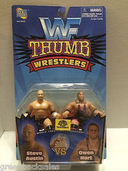 (TAS006540) - WWF Wrestling Jakks Thumb Wrestlers - Steve Austin & Owen Hart, , Action Figure, Wrestling, The Angry Spider Vintage Toys & Collectibles Store