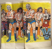 (TAS000496) - WWE WWF TitanSports LJN Wrestling Tablecloth - Hogan Snuka Piper, , Party, Titan Sports, Inc., The Angry Spider Vintage Toys & Collectibles Store