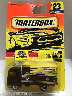 (TAS008998) - Matchbox Die-Cast Cars - Volvo Container Truck #23, , Cars, Matchbox, The Angry Spider Vintage Toys & Collectibles Store