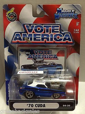 (TAS030816) - Funline Muscle Machines Vote America Die Cast Car - '70 Cuda, , Cars, Muscle Machines, The Angry Spider Vintage Toys & Collectibles Store