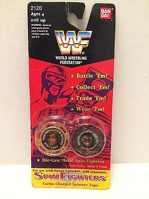 (TAS030496) - 1994 Bandai WWF WWE Spin Fighters - Brett Hart & Adam Bomb, , Game, Wrestling, The Angry Spider Vintage Toys & Collectibles Store
