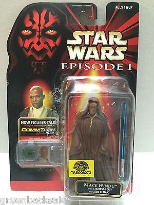 (TAS008272) - Hasbro Star Wars Episode 1 CommTech Chip Figure - Mace Windu, , Action Figure, Star Wars, The Angry Spider Vintage Toys & Collectibles Store