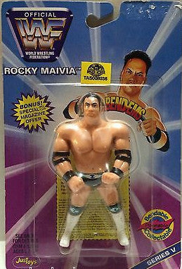 (TAS008036) - WWF WWE WCW nWo Wrestling JusToys Bend-Ems Figure - Rocky Maivia, , Action Figure, Wrestling, The Angry Spider Vintage Toys & Collectibles Store