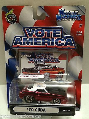 (TAS030818) - Funline Muscle Machines Vote America Die Cast Car - '70 Cuda, , Cars, Muscle Machines, The Angry Spider Vintage Toys & Collectibles Store