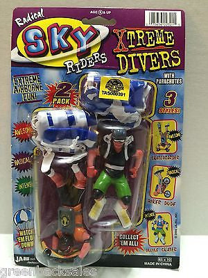 (TAS008391) - JA-RU Radical Sky Riders Xtreme Divers w/ Parachutes Figures, , Action Figure, JARU, The Angry Spider Vintage Toys & Collectibles Store