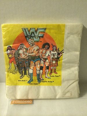 (TAS030524) - 1986 Titan Sports LJN WWF Wrestling Napkins - Hogan Snuka Piper, , Other, Wrestling, The Angry Spider Vintage Toys & Collectibles Store