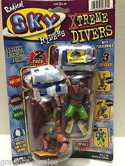 (TAS008474) - JARU Radical Sky Riders Xtreme Divers w/ Parachutes Figures, , Action Figure, JARU, The Angry Spider Vintage Toys & Collectibles Store