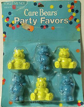 (TAS000084) - Care Bears Party Favors - 6 Pencil Tops, , Pencil Toppers, Care Bears, The Angry Spider Vintage Toys & Collectibles Store