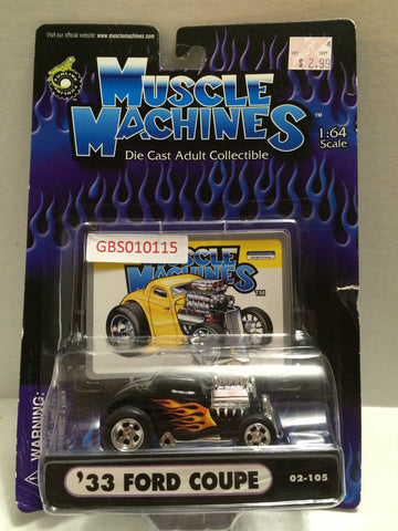 (TAS030769) - Muscle Machines Die CastCollectible 1:64 Scale – '33 Ford Coupe, , Cars, Muscle Machines, The Angry Spider Vintage Toys & Collectibles Store