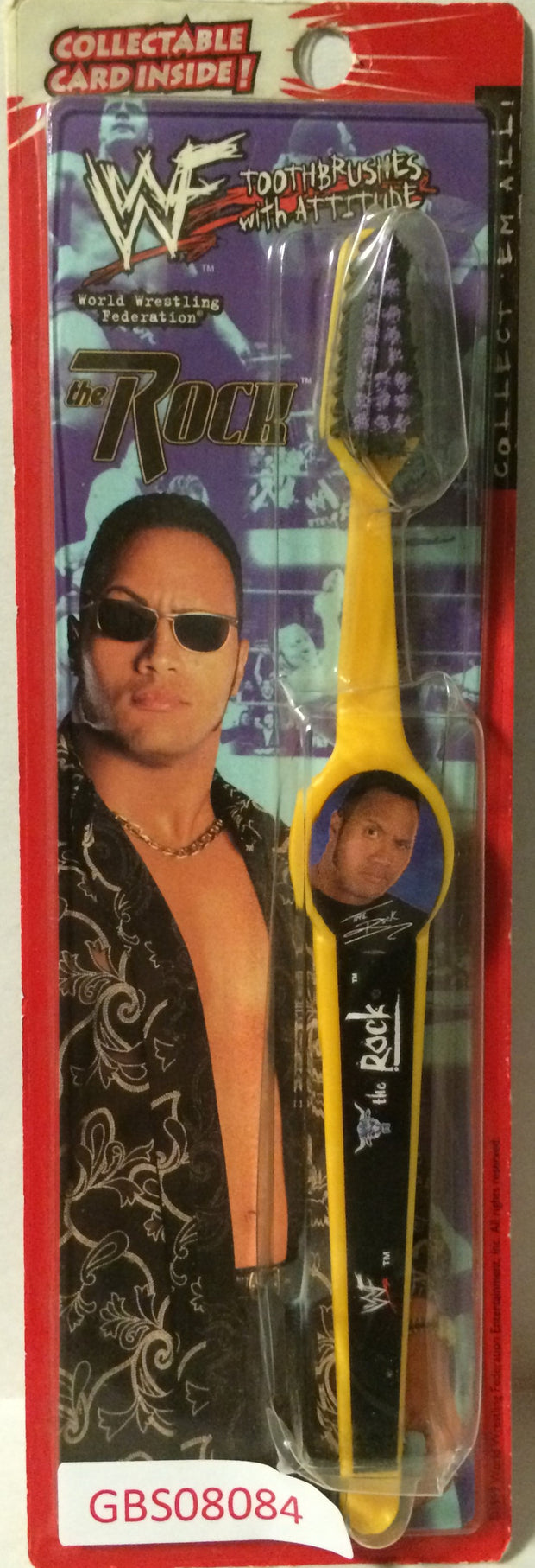 (TAS031501) - 1999 WWF WWE Wrestling Attitude ToothBrush - The Rock, , Bath, Wrestling, The Angry Spider Vintage Toys & Collectibles Store