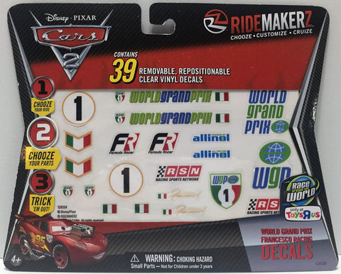 (TAS034720) - 2011 Ridemakerz Disney Pixar Cars 2 Francesco Racing Decals, , Trucks & Cars, Disney, The Angry Spider Vintage Toys & Collectibles Store  - 1