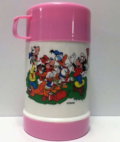 (TAS034703) - Pink Disney Mickey Mouse Gang Thermos, , Drinkware, Disney, The Angry Spider Vintage Toys & Collectibles Store  - 1