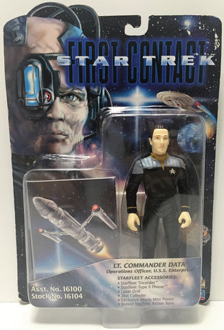 (TAS034738) - 1996 Playmates Star Trek First Contact Figure - Lt. Commander Data, , Action Figure, Star Trek, The Angry Spider Vintage Toys & Collectibles Store  - 1