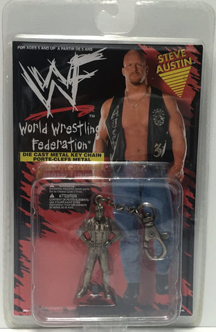(TAS034736) - 1998 Placo WWF Wrestling Die-Cast Keychain - Steve Austin, , Keychain, Wrestling, The Angry Spider Vintage Toys & Collectibles Store  - 1