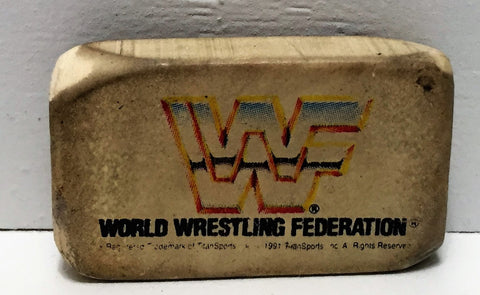 (TAS034772) - 1991 Titan Sports Used WWF Wrestling School Eraser White WWF Logo, , Pencil, Wrestling, The Angry Spider Vintage Toys & Collectibles Store  - 1