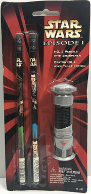 (TAS033273) - 1999 PenTech Star Wars Episode I No. 2 Pencils With Sharpener Set, , Action Figure, Star Wars, The Angry Spider Vintage Toys & Collectibles Store  - 1