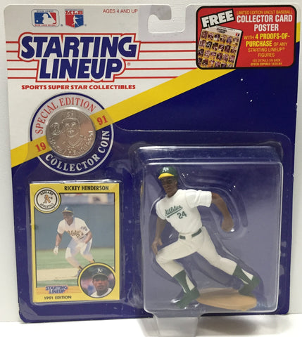 (TAS035067) - 1991 Hasbro Starting Lineup Figure - Baseball - Rickey Henderson, , Action Figure, Starting Lineup, The Angry Spider Vintage Toys & Collectibles Store  - 1