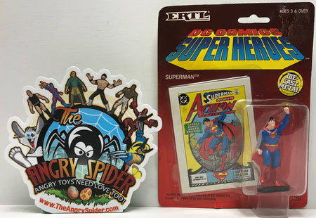 TAS041312 - 1990 ERTL DC Comics Super Heroes Die-Cast Figure - Superman Raised Fist #724