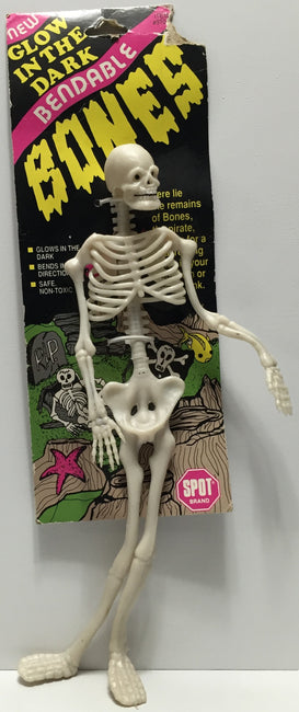 TAS037604 - 1990 Ethical Products Glo In The Dark Bendable Halloween Bones