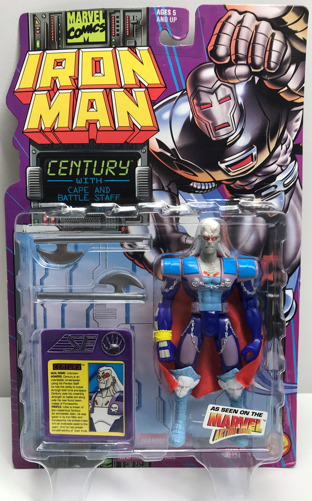 TAS039319 - 1995 Toy Biz Iron Man Action Figure - Century Cape Battle Staff