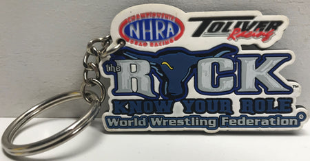 TAS039771 - 2000 Action Sports WWF WWE Rubber Keychain NHRA The Rock
