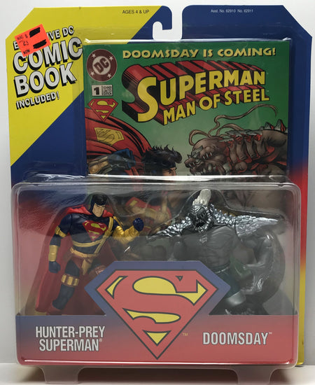 TAS040206 - 1995 Hasbro DC Comics Superman Hunter-Prey vs Doomsday