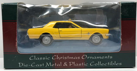 TAS040504 - 2000 Maisto Die-Cast Christmas Ornament - Yellow Ford Mustang