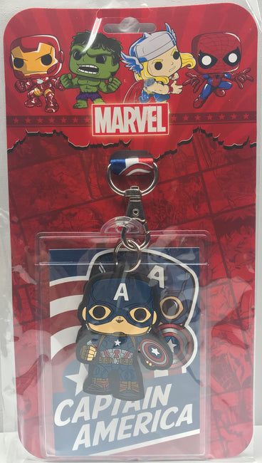 TAS039166 - 2017 Funko Marvel Captain America Lanyard Badge Holder Keychain