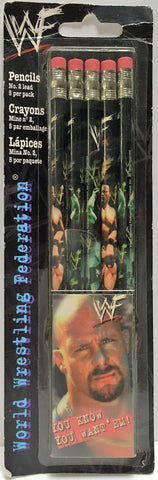 (TAS033585) - 2000 Titan Sports WWF WWE Wrestling Pencil Pack Stone Cold & Rock, , Pencils, Wrestling, The Angry Spider Vintage Toys & Collectibles Store  - 1
