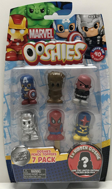 TAS040678 - 2016 Jakks Marvel Ooshies Pencil Toppers 7 Figure Pack Spider-Man