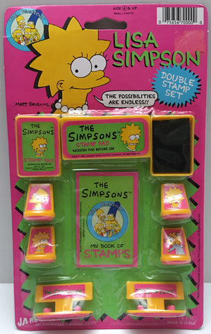 (TAS000062) - 1990 Ja-Ru The Simpsons Double Stamp Set - Lisa Simpson