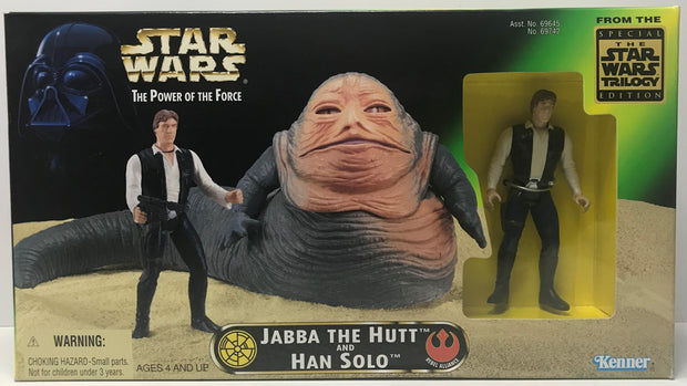 TAS041343 - 1997 Kenner Star Wars The Power Of The Force Jabba The Hutt And Han