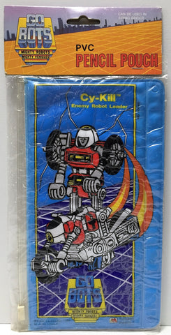 (TAS037242) - 1984 Tonka GOBOTS PVC Pencil Pouch Cy-Kill Enemy Robot Leader