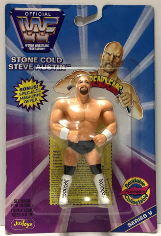 (TAS034317) - 1997 Titan Sports WWF Wrestling Bend-ems Figure - Steve Austin, , Action Figure, Wrestling, The Angry Spider Vintage Toys & Collectibles Store  - 1