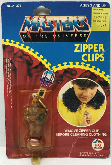 TAS040156 - 1984 Mattel HG Toys Masters Of The Universe Zipper Clips - He-Man