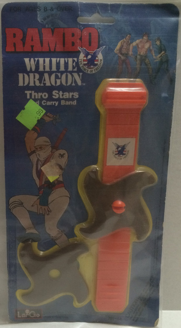(TAS000143) - 1986 LarGo Toys Rambo White Dragon Toy Thro Stars, , Action Figure, Rambo, The Angry Spider Vintage Toys & Collectibles Store