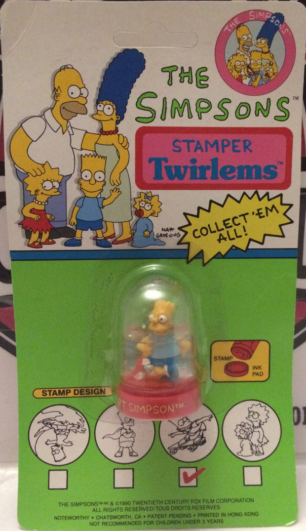 (TAS000249) - 1990 The Simpsons Stamper Twirl-Ems - Bart Simpson, , Action Figure, The Simpsons, The Angry Spider Vintage Toys & Collectibles Store