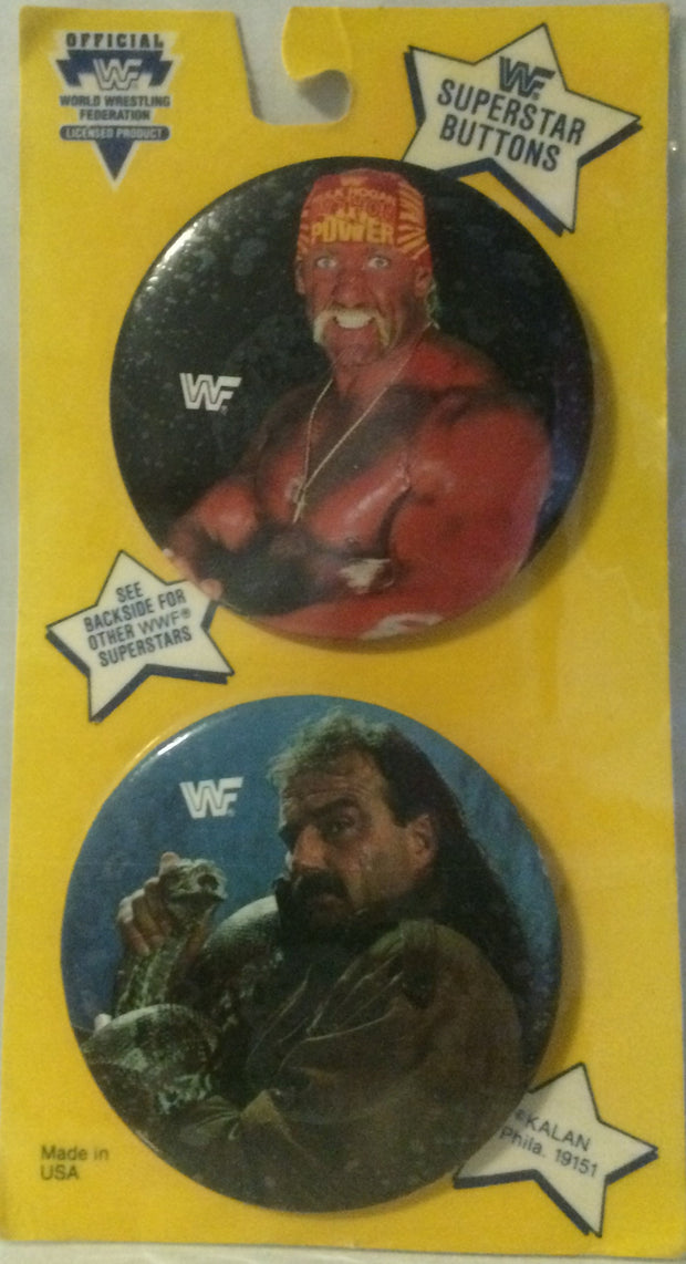 (TAS000483) - WWF WWE Wrestling Superstars Buttons - Hogan & Roberts, , Buttons, Wrestling, The Angry Spider Vintage Toys & Collectibles Store