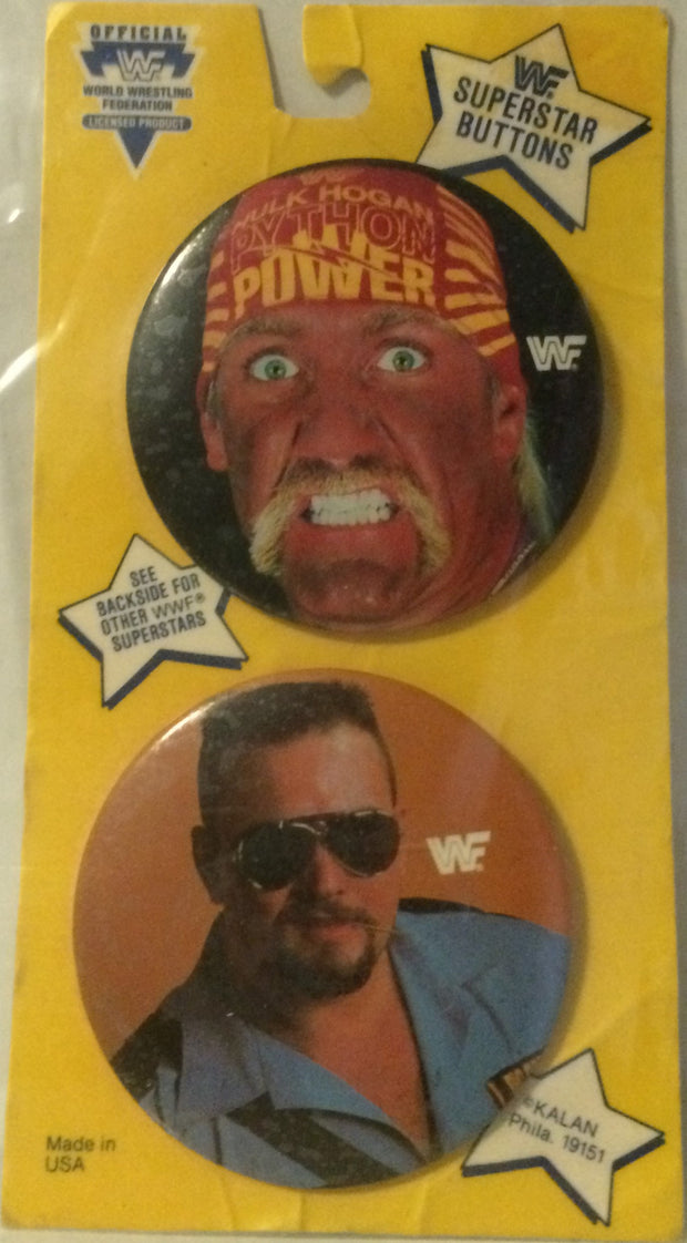 (TAS000560) - WWF WWE Wrestling Superstars Buttons - Hogan & Boss Man, , Buttons, Wrestling, The Angry Spider Vintage Toys & Collectibles Store