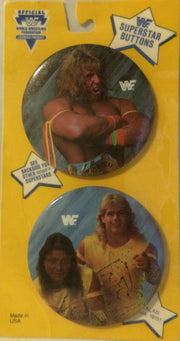 (TAS000563) - WWF WWE Wrestling Superstars Buttons - Warrior & The Rockers, , Buttons, Wrestling, The Angry Spider Vintage Toys & Collectibles Store