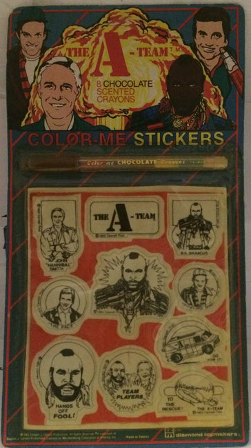 (TAS000691) – 1983 Diamond Toys – The A-Team Color-Me Stickers / Crayons, , Stickers, The A-Team, The Angry Spider Vintage Toys & Collectibles Store