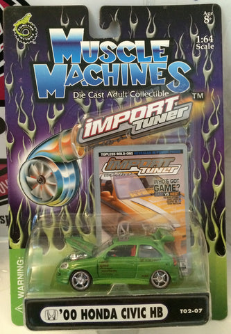 (TAS030214) - Muscle Machines 1:64 Die Cast Import Tuner - '00 Honda Civic HB, , Trucks & Cars, Muscle Machine, The Angry Spider Vintage Toys & Collectibles Store