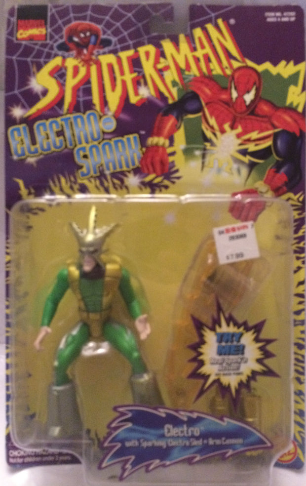 (TAS000823) - 1997 Toy Biz Marvel Spider-Man Electro-Spark Figure - Electro, , Action Figure, Spiderman, The Angry Spider Vintage Toys & Collectibles Store