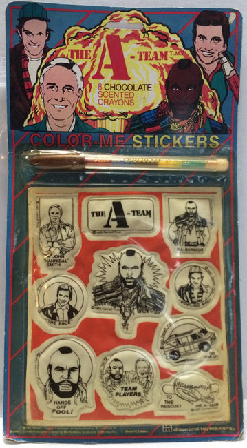 (TAS000967) - 1983 The A-Team Color-Me Stickers & Chocolate Scented Crayons, , Stickers, The A-Team, The Angry Spider Vintage Toys & Collectibles Store