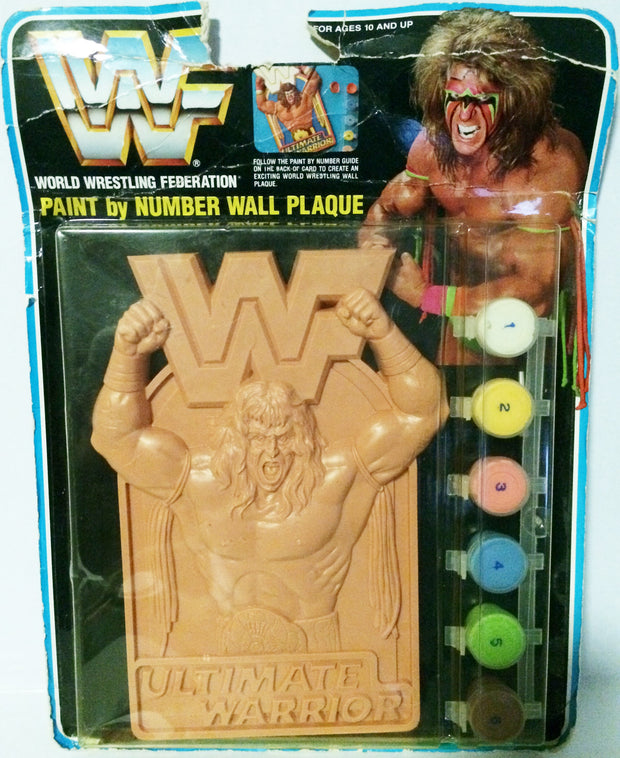 (TAS003355) - WWF WWE Wrestling LJN Paint By Number Wall Plaque - Warrior, , Other, Wrestling, The Angry Spider Vintage Toys & Collectibles Store