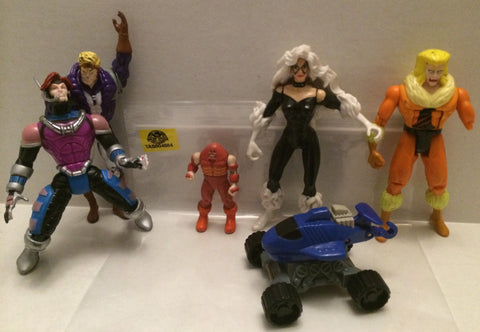 (TAS004584) - X-Men Action Figure Lot - Black Cat, Sabretooth, Juggernaut & More, , X-Men, Marvel Toys, The Angry Spider Vintage Toys & Collectibles Store