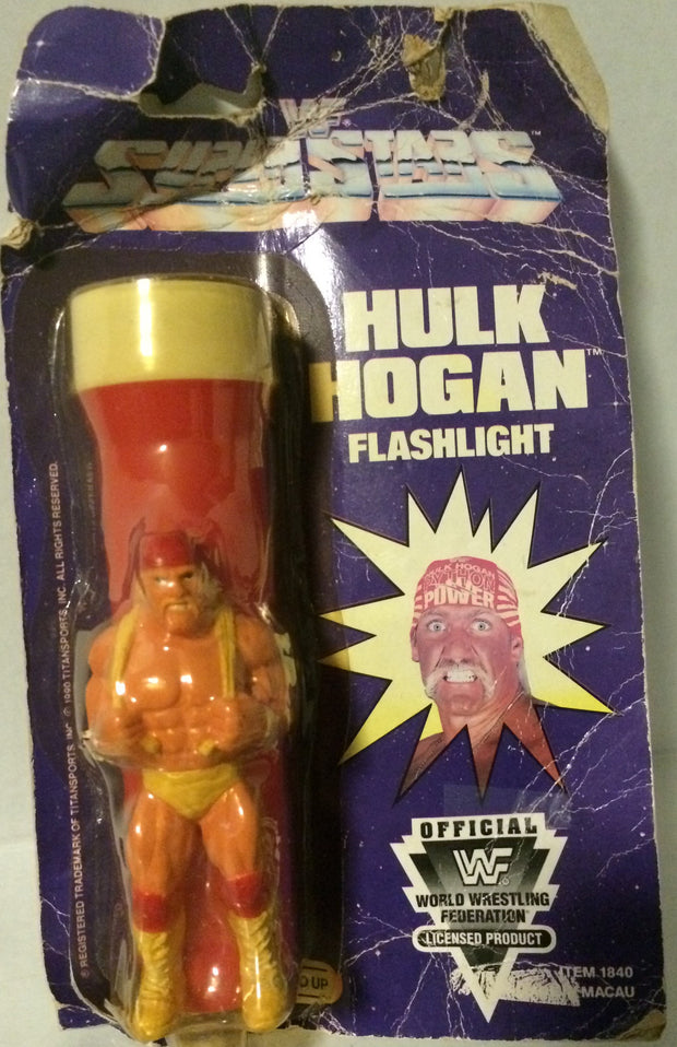 (TAS032047) - Titan Sports WWF WWE Wrestling Superstars Flashlight - Hulk Hogan, , Flashlight, Wrestling, The Angry Spider Vintage Toys & Collectibles Store