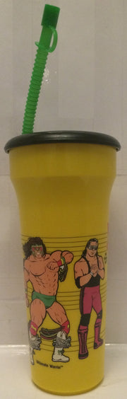 (TAS005243) - 1990 Titan Sports WWF WWE LJN Water Bottle Yellow- Hogan & Warrior, , Drinkware, Wrestling, The Angry Spider Vintage Toys & Collectibles Store  - 2