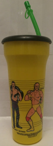 (TAS005243) - 1990 Titan Sports WWF WWE LJN Water Bottle Yellow- Hogan & Warrior, , Drinkware, Wrestling, The Angry Spider Vintage Toys & Collectibles Store  - 3
